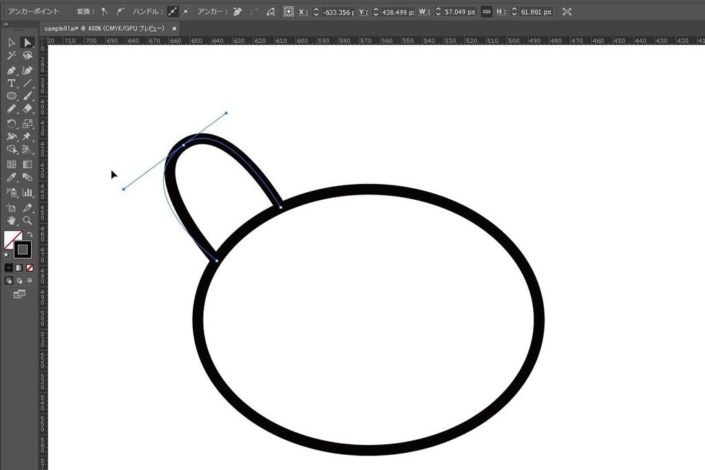 illustratorCC(イラレ)でスムーズポイントの片方のハンドルを固定する方法 コーナーポイント