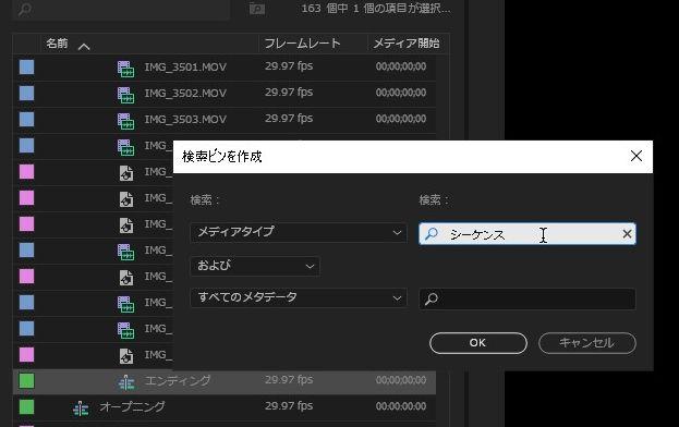 【PremierePro】アセットを検索する方法|検索ビン|シーケンス・画像・動画の種類などをまとめて表示!