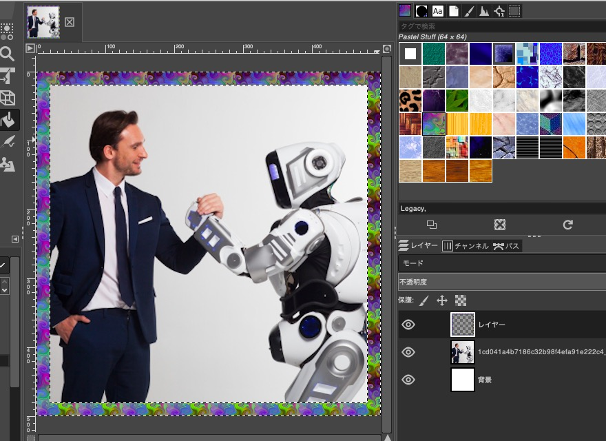 【GIMP】画像にいい感じの枠・縁・フレームを作る方法 パターンで塗りつぶす